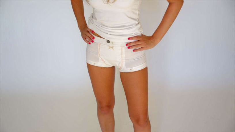 Two women, Yuval and Ruth, have developed Anti-Rape Wear clothing. Some of the garments can be worn under other clothing (such as these shorts), and all feature cut-resistant straps and webbing along the waist, thighs and central panels to deter removal.