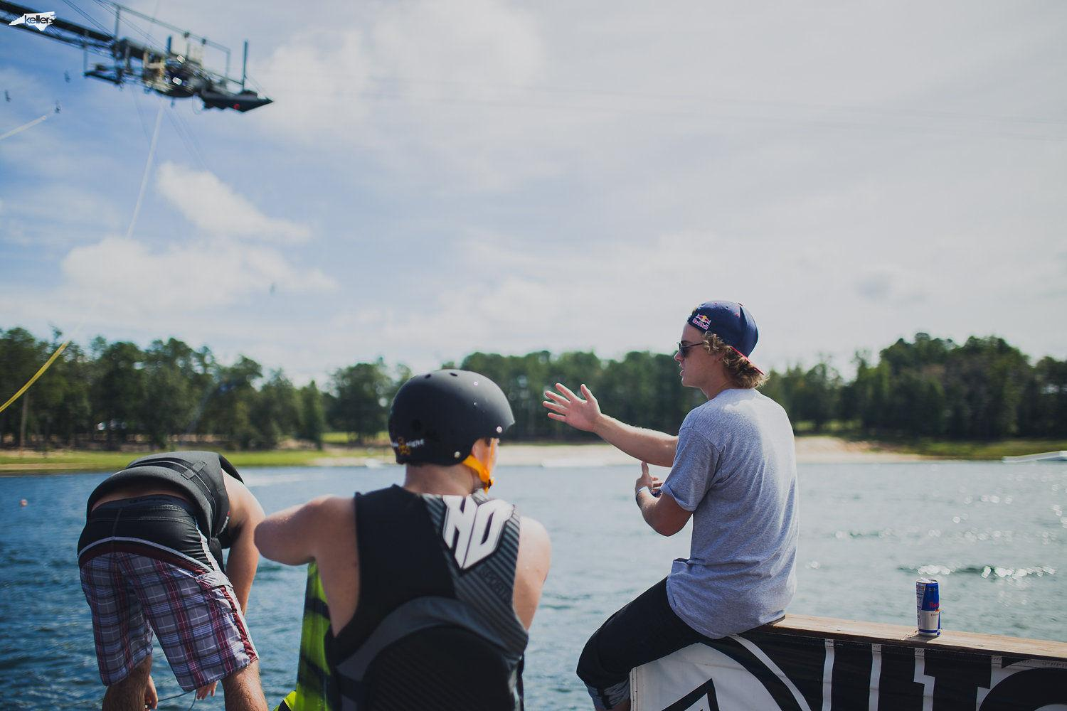 Red Bull pro athlete Mike Dowdy (right) offered pointers to wakeboarders during a two-hour clinic at the beginning of the event.
