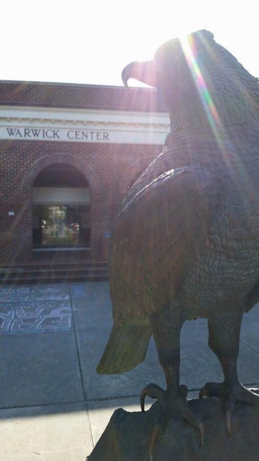The Seahawk Statue, a symbol of UNCW, sits outside the Warwick Center.