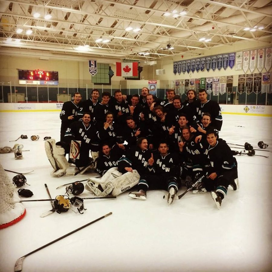 Dub Hockey celebrates their regional victory in late February.