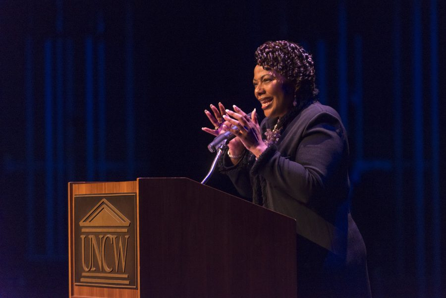Bernice King the chief executive officer of the King Center was the keynote speaker for UNCW's Martin Luther King, Jr. Celebration January 22, 2016 at Kenan Auditorium. Dr. King received the Key to Wilmington City from Mayor Bill Saffo and autographed books after her speech.