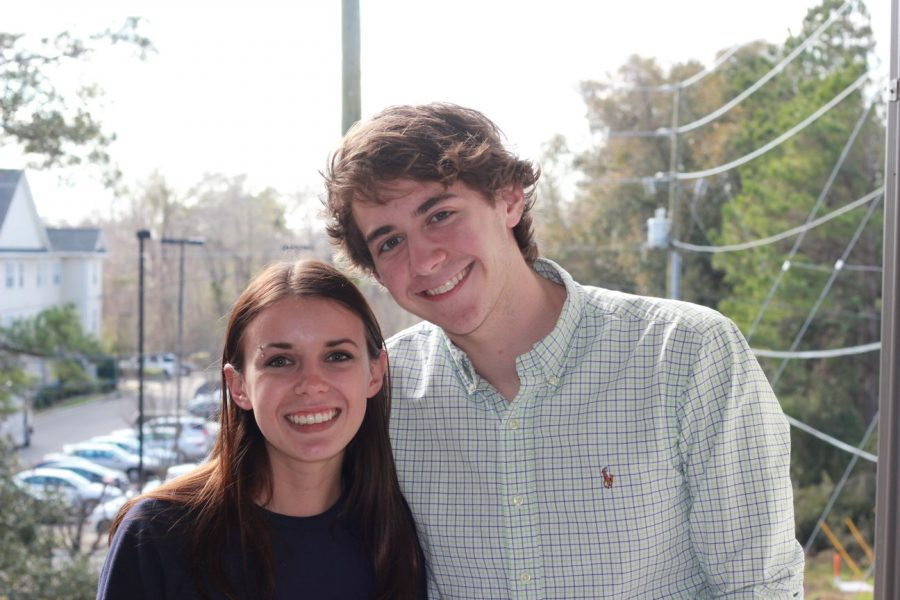 UNCW Student Government Association presidential candidate Jane Chiffriller, left, stands with her running mate, Alec Kunkel.