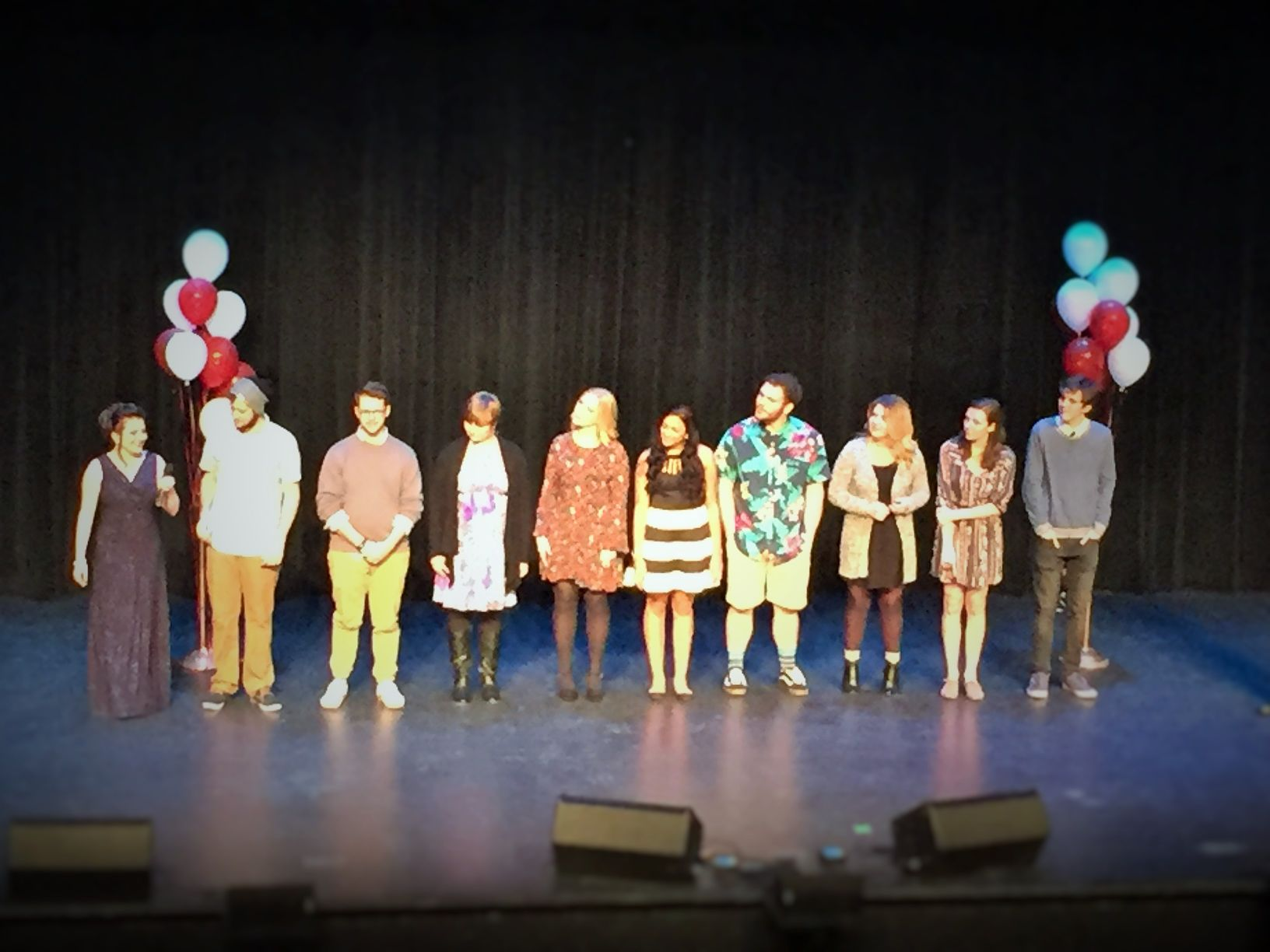 The 10 Dub Idol contestants stand together at the end of the competition awaiting the results.