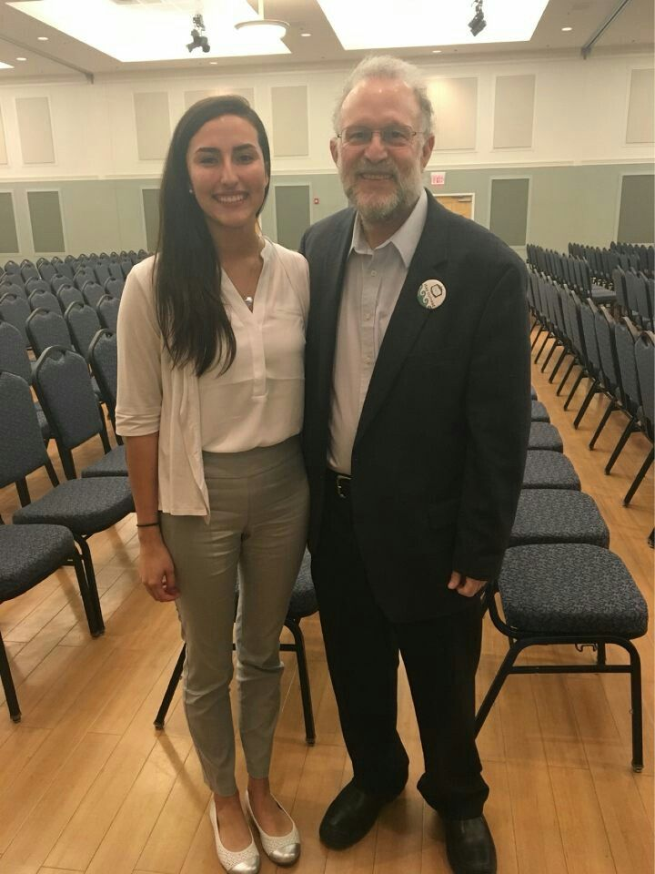 Laura Rojas, next year's co-president of TealTV, interviews Jerry Greenfield for her organization.