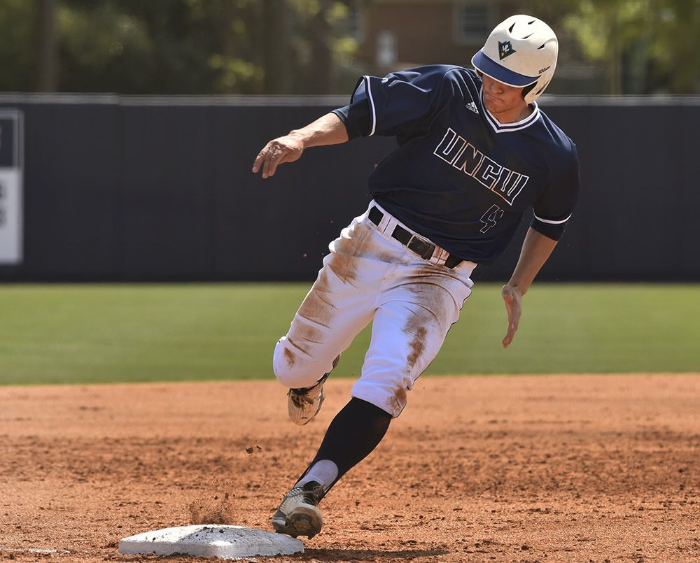 Mims (pictured from win vs. East Tennessee State) now ranks fourth among the Seahawks with a .387 batting average.