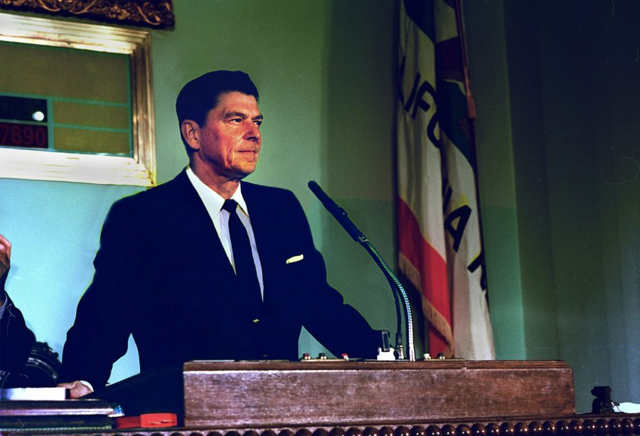 California Gov. Ronald Reagan gives state of the State address to legislators in Sacramento, California.