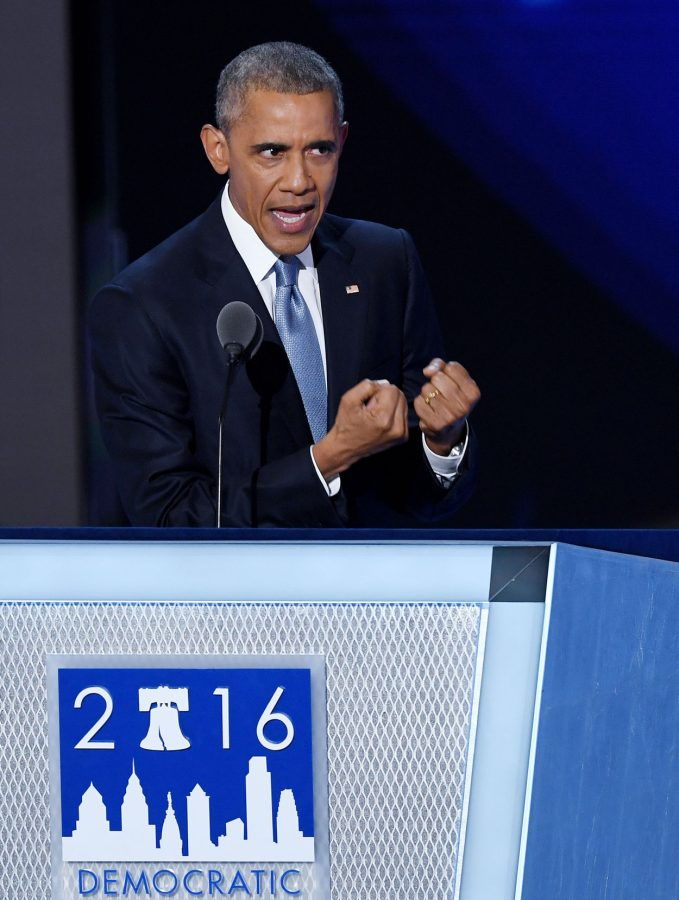 President Obama addressed the Democratic National Convention at the Wells Fargo Center on July 27, 2016, and spoke strongly in favor of Hillary Clinton for president.
