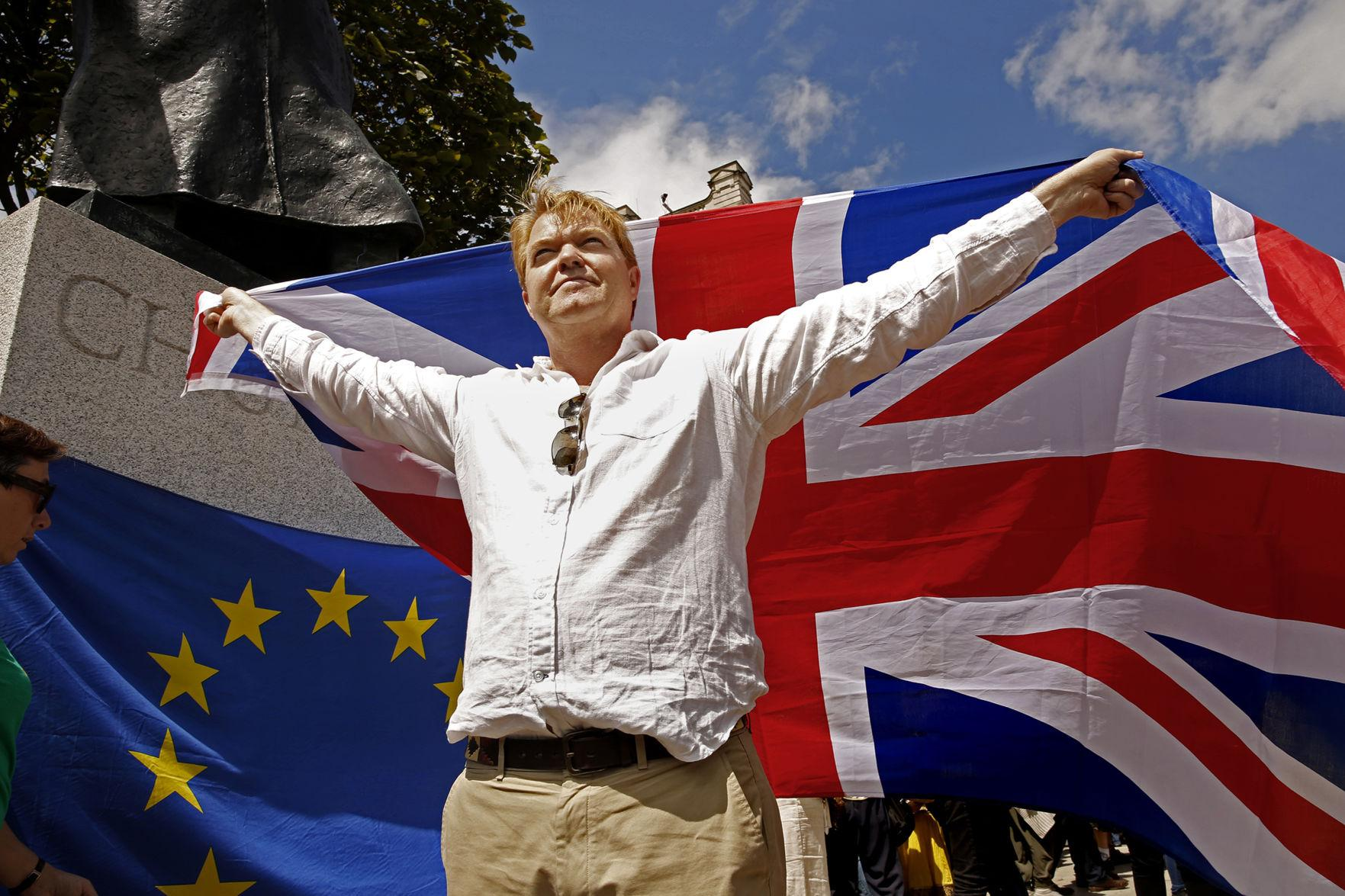 Charles Perry of London joins more than 20,000 people gathering to protest against Great Britain leaving the European Union on Saturday, July 2, 2016, in central London, where marchers made their way to Parliament Square. (Carolyn Cole/Los Angeles Times/TNS)