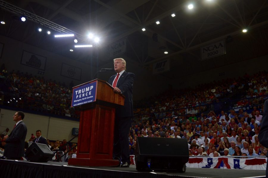 Republican presidential candidate Donald Trump speaks in UNCW's Trask Coliseum about major problems within the United States political system on Tuesday as a part of his 2016 campaign.