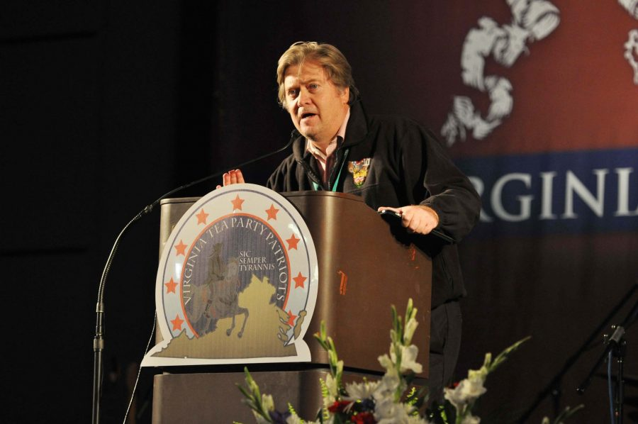 Filmmaker and conservative Breitbart News chairman Stephen Bannon introduces his movie trilogy about the Tea Party at the Virginia Tea Party Convention Oct. 8, 2010 in Richmond, Va. Bannon was recently named Donald Trumps chief strategist, much to the concern--and joy--of many.