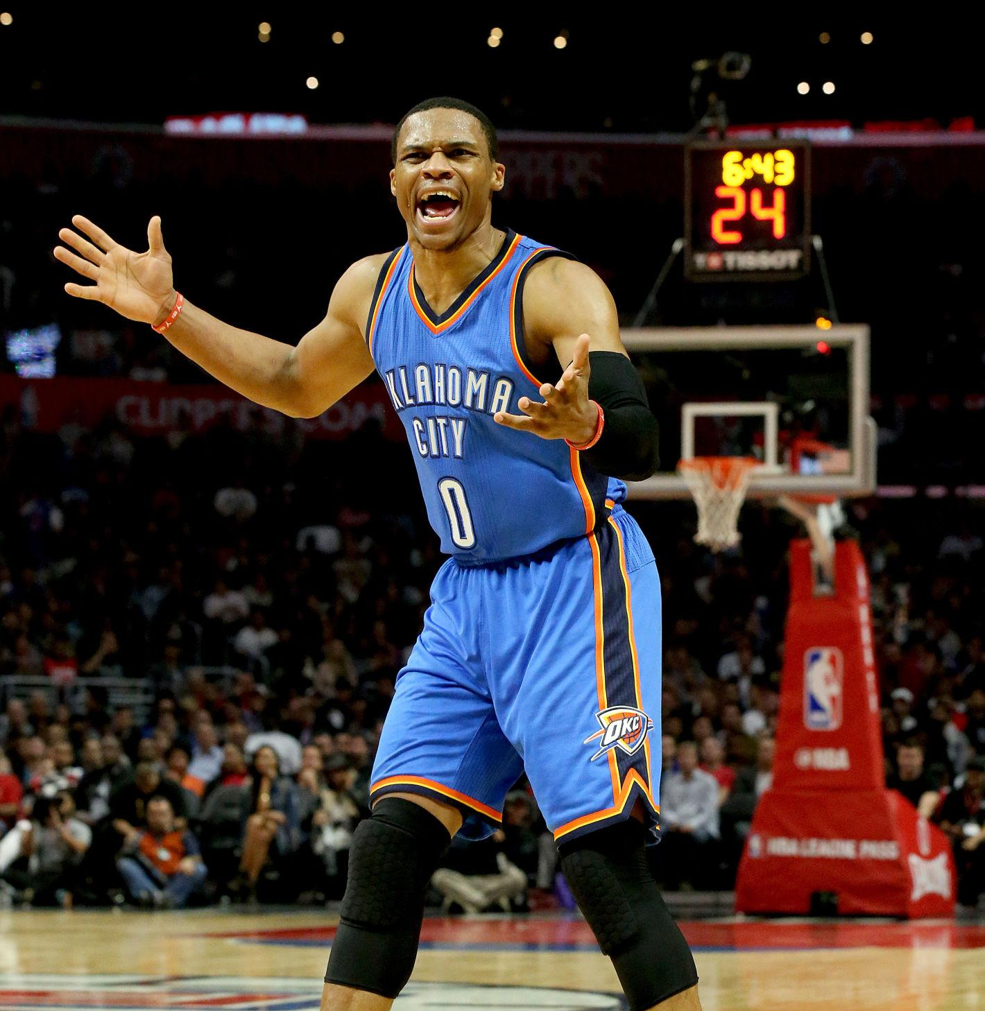 The Oklahoma City Thunder's Russell Westbrook complains to officials about a foul that he thought should be called against the Los Angeles Clippers in the third quarter on Wednesday, Nov. 2, 2016, at Staples Center in Los Angeles. The Thunder won, 85-83. (Luis Sinco/Los Angeles Times/TNS)