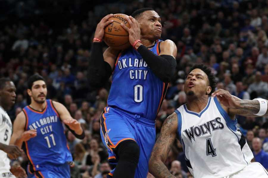 The+Oklahoma+City+Thunder%27s+Russell+Westbrook+%280%29+drives+to+the+basket+against+the+Minnesota+Timberwolves%27+Brandon+Rush+%284%29+during+the+second+half+on+Friday%2C+Jan.+13%2C+2017%2C+at+the+Target+Center+in+Minneapolis.+The+Timberwolves+won%2C+96-86.+%28Anthony+Souffle%2FMinneapolis+Star+Tribune%2FTNS%29