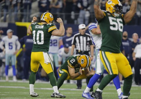 Green Bay Packers kicker Mason Crosby (2) kicks the winning field goal with three seconds left on the clock as the Green Bay Packers beat the Dallas Cowboys 34-31 in the NFL Divisional Playoff game on Sunday, Jan. 15, 2017 in AT&T Stadium in Arlington, Texas. (Rodger Mallison/Fort Worth Star-Telegram/TNS)