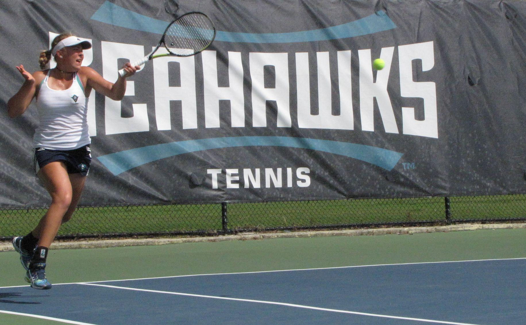 Madara Straume lost her first singles match of the season on Friday versus Winthrop.