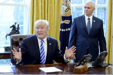 U.S. President Donald Trump reacts after Republicans abruptly pulled their health care bill from the House floor in the Oval Office of the White House on March 24, 2017 in Washington, D.C. (Olivier Douliery/Abaca Press/TNS)
