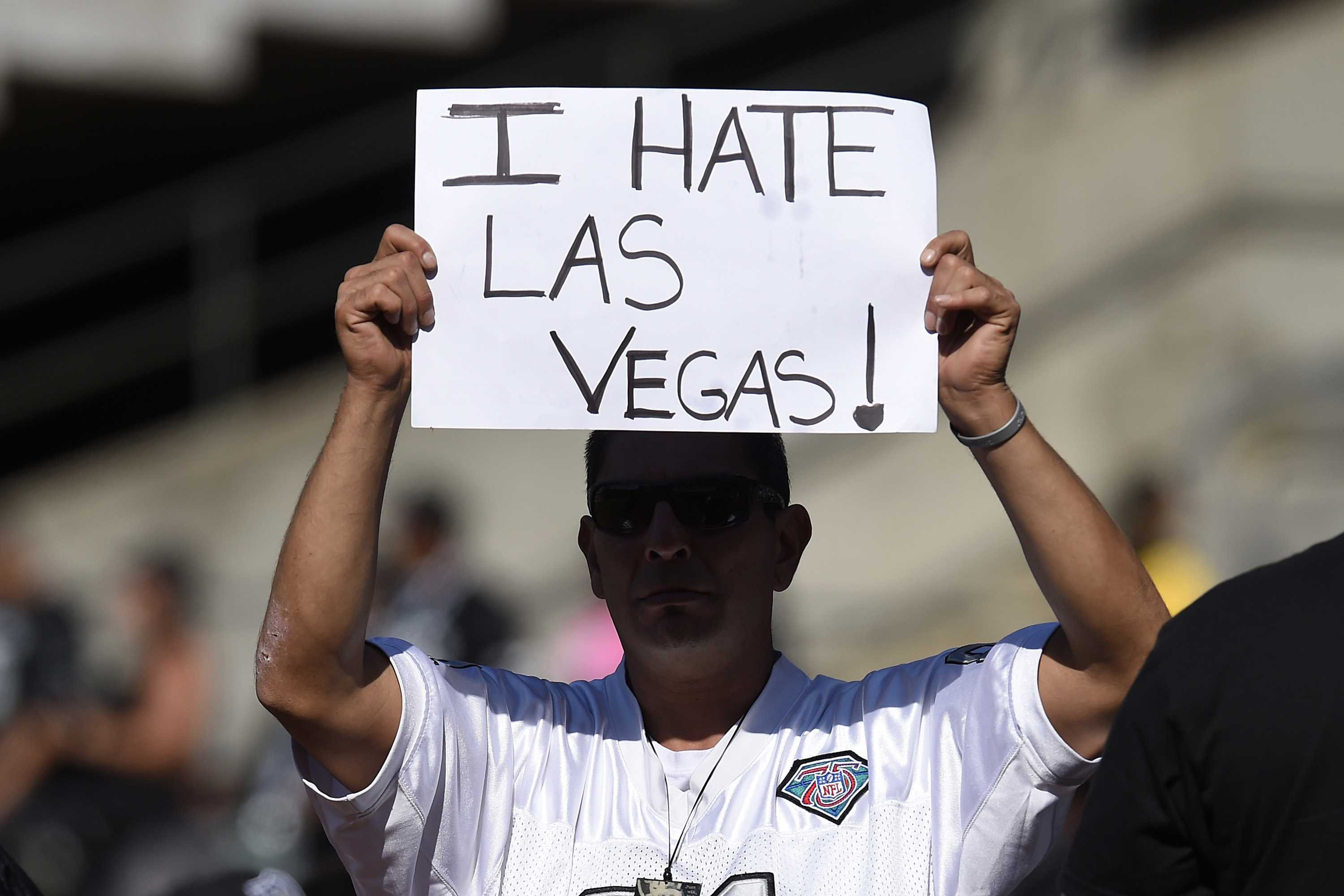 An Oakland Raiders fan shows his displeasure about the team possibly moving to Las Vegas during their preseason game against the Tennessee Titans at the Coliseum on Saturday, Aug. 27, 2016 in Oakland, Calif. (Jose Carlos Fajardo/Bay Area News Group/TNS)