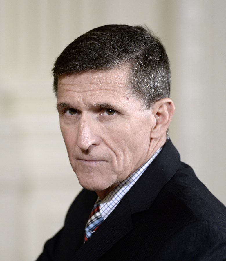 Michael+Flynn+attends+a+news+conference+on+February+10%2C+2017%2C+at+the+White+House+in+Washington%2C+D.C.+Four+Democratic+senators+have+charged+in+a+series+of+letters+that+the+appointment+of+Flynn+as+Donald+Trump%27s+national+security+adviser+%22might+have+jeopardized+national+security.%22+%28Olivier+Douliery%2FAbaca+Press%2FTNS%29