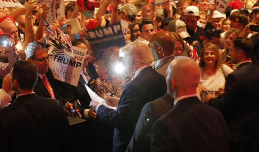 Donald Trump shakes hands with supporters after he speaks at a rally at Gilley's Dallas on Thursday, June 16, 2016. (Rodger Mallison/Fort Worth Star-Telegram/TNS)