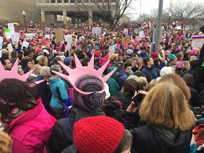 Thousands gathered for the 2017 Women's March in Washington, DC, many of which are colorfully decorated with