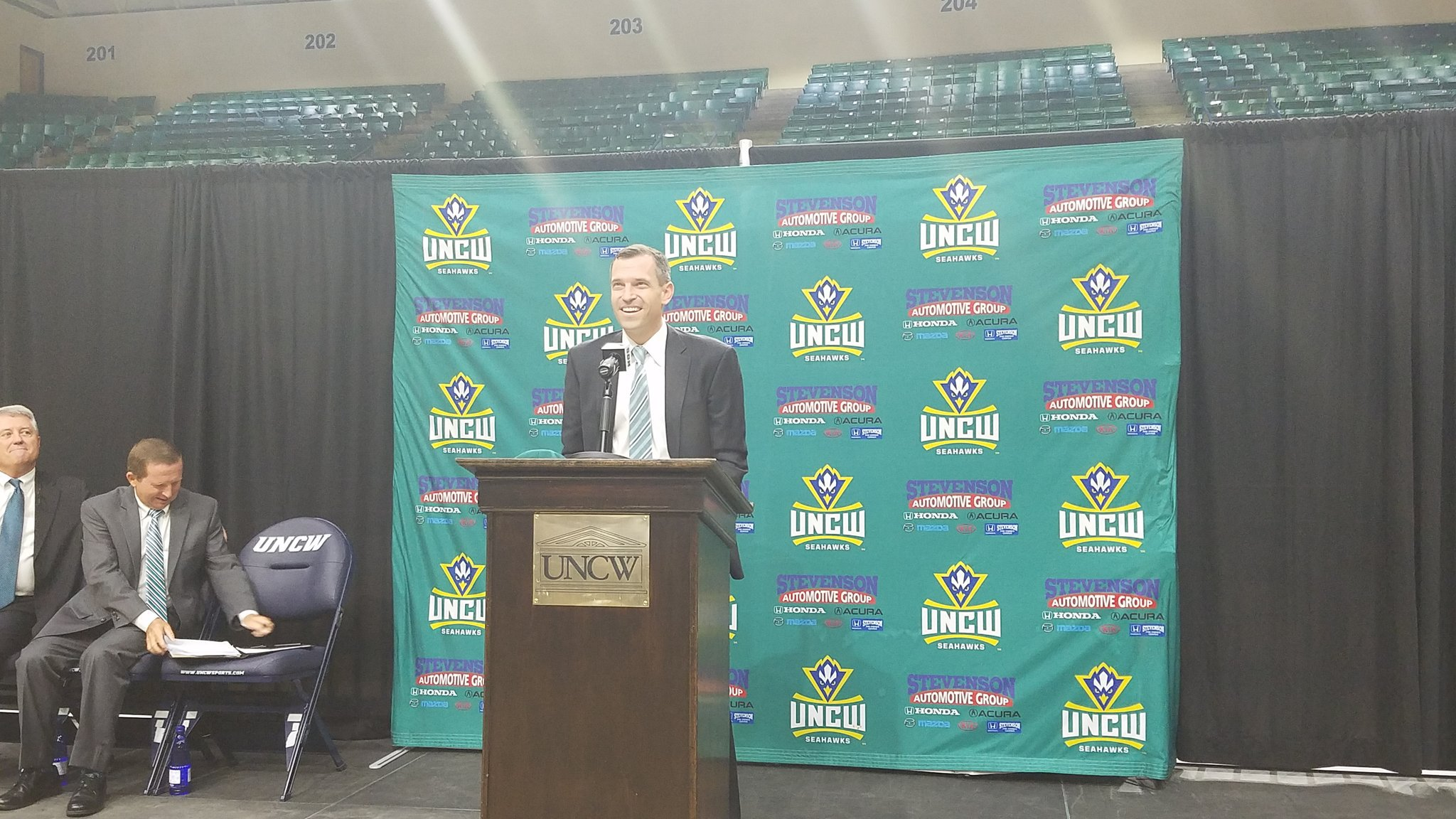 C.B. McGrath greets UNCW fans with a smile during the opening press conference welcoming him as the next UNCW head coach.