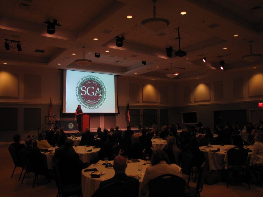 Newly elected SGA President Ottillie Mensah addressed those present at the annual SGA Inauguration.