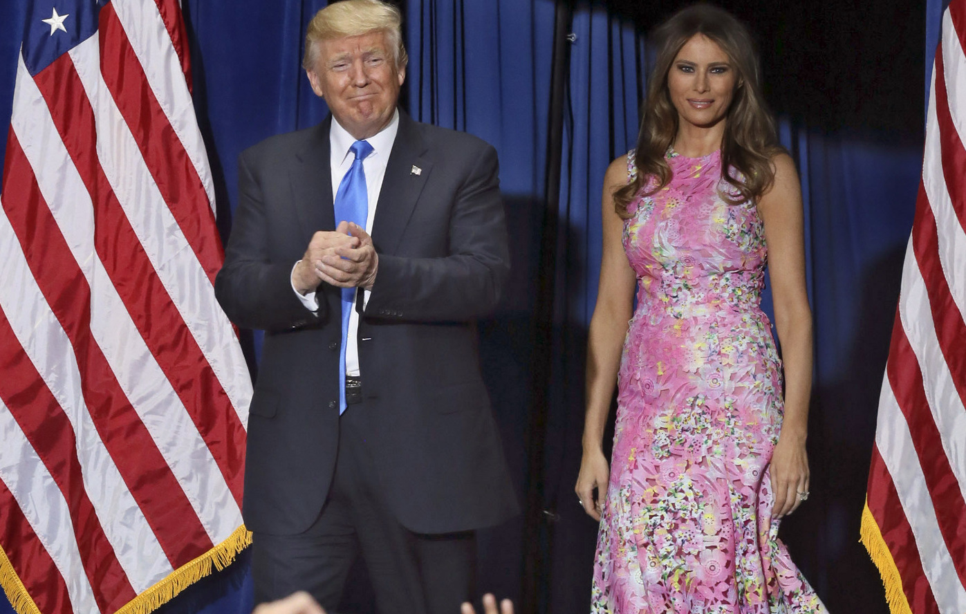 President Donald Trump and first lady Melania Trump arrive at a Make America Great Again rally at the Covelli Centre in Youngstown, Ohio, on Tuesday, July 25, 2017.