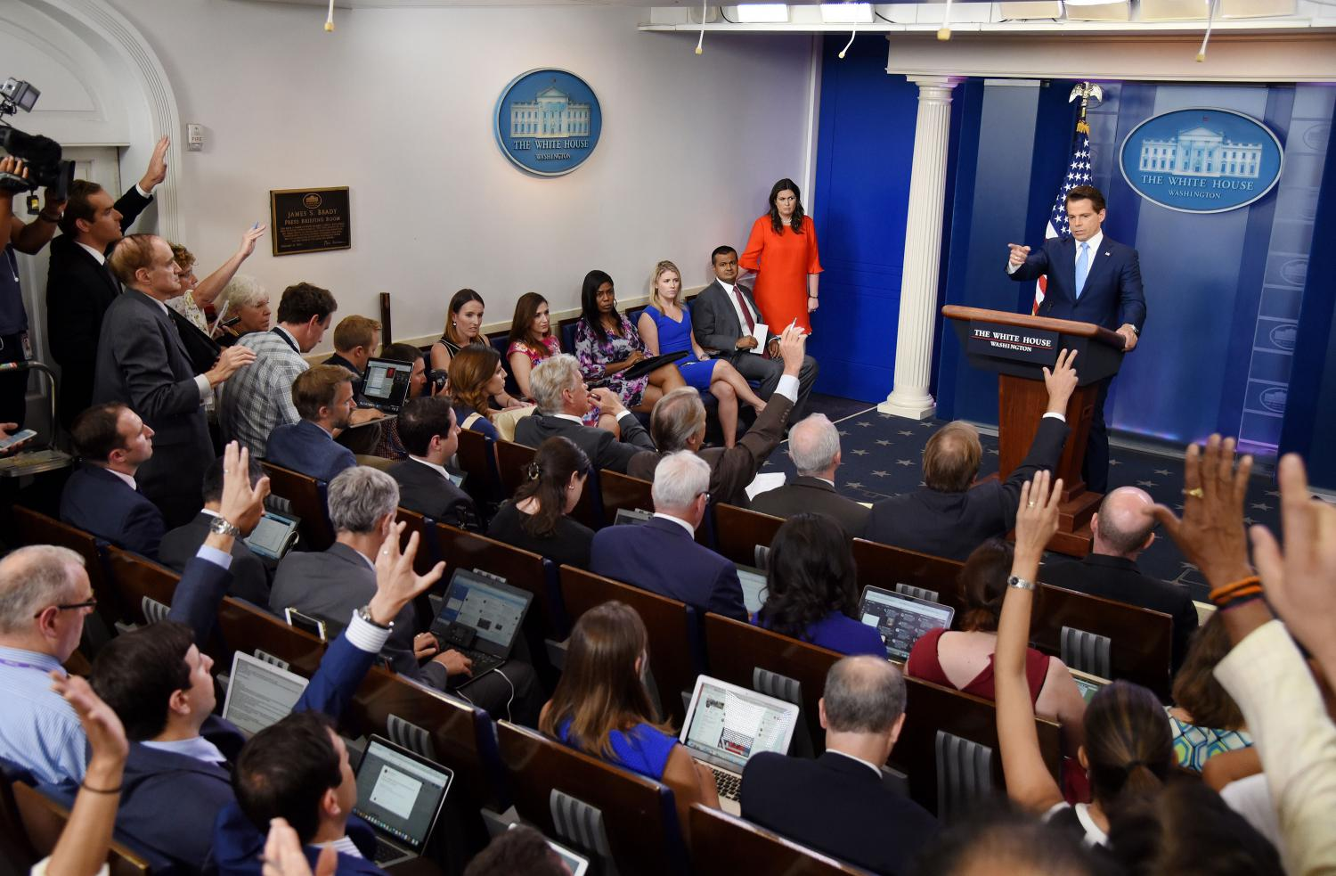(Olivier Douliery/Abaca Press/TNS) Newly appointed White House Communications Director Anthony Scaramucci answers questions about the resignation of White House Press Secretary Sean Spicer during a press briefing on Friday, July 21, 2017 at the White House in Washington, D.C.