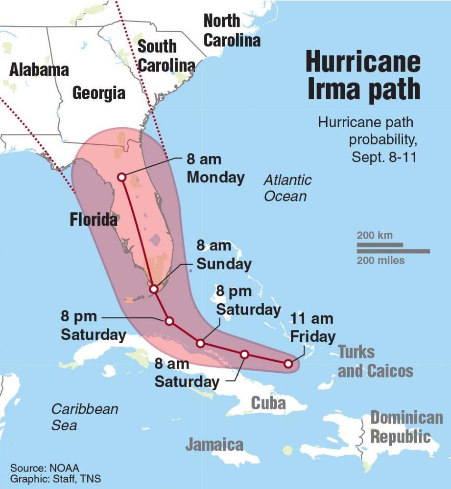 Path of Hurricane Irma through Monday morning.