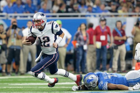 New England Patriots quarterback Tom Brady (12) runs the ball during the first half of an NFL football game against the Detroit Lions in Detroit, Michigan USA, on Friday, August 25, 2017.