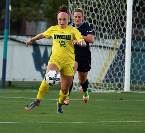 Serenity Waters (12) takes possession of the ball during UNCW's game vs. Old Dominion on Sept. 8, 2017.