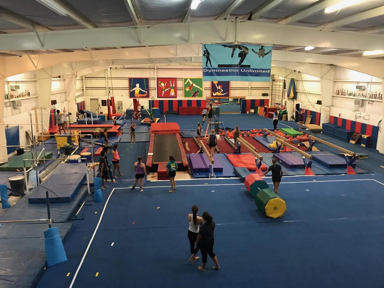 An overhead shot of Gymnastics Unlimited, the home gym of the UNCW Club Gymnastics team.