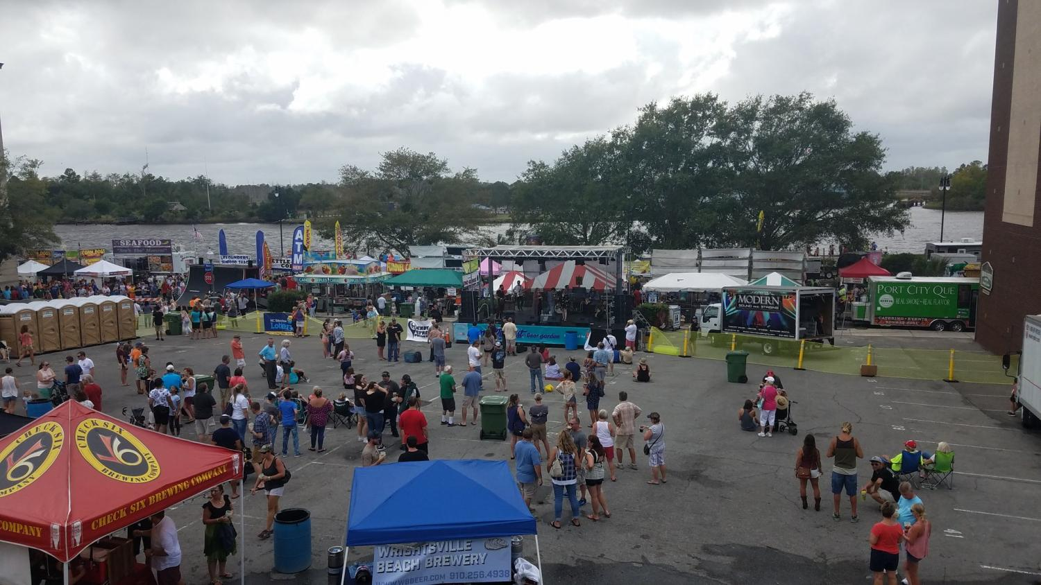 The view of Wilmington Riverfest from the balcony of Front Street Brewery on Saturday, Oct. 7. Thousands of Wilmington residents gathered for the annual festival, which highlights local artists and businesses in a community setting.
