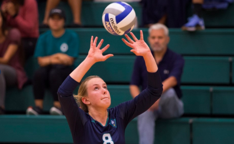 UNCW's Brynn Montgomery sets up a kill in the Seahawks' 3-0 win over Northeastern on Thursday.