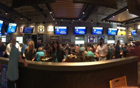 A panoramic view of the Buffalo Wild Wings on Racine Drive in Wilmington, the site of Monday's eighth-annual UNCW Basketball Tip-Off Luncheon.