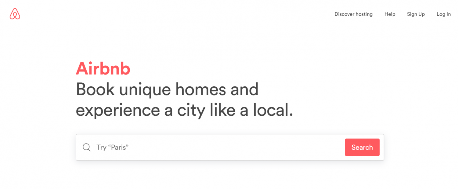 Airbnb, a popular website for homesharing opportunities.
