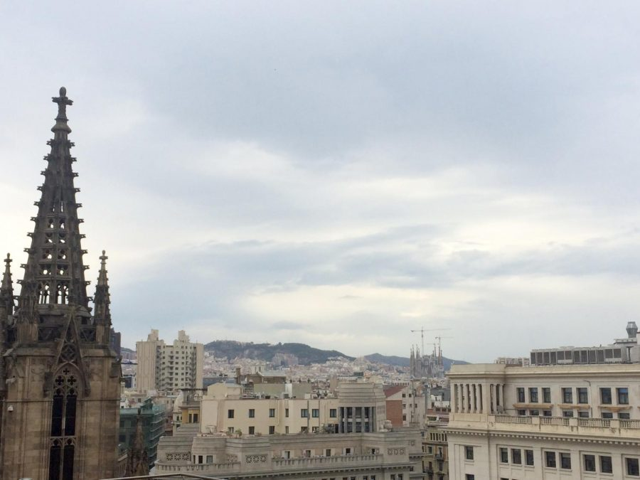 The Barcelona skyline--the center of much of the Catalan independence strife--from the top of the Barcelona Cathedral.
