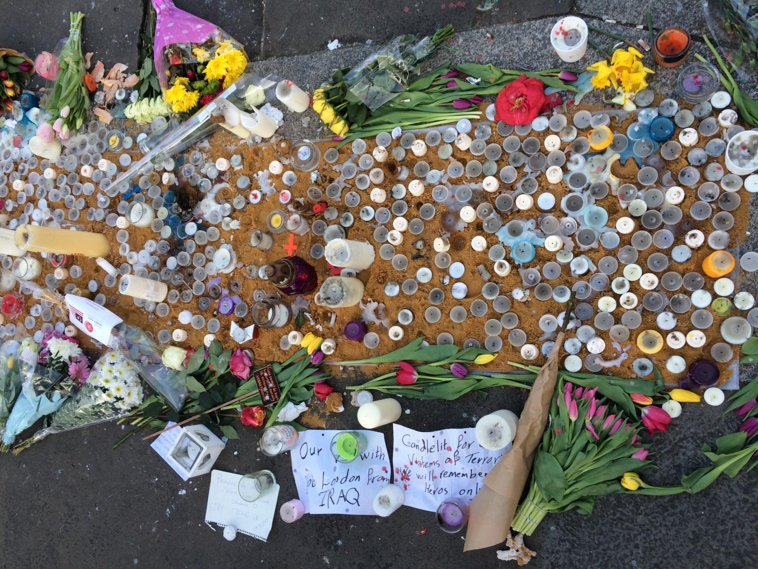 LONDON, ENGLAND--A makeshift memorial for those who lost their lives in the Westminster Bridge attack