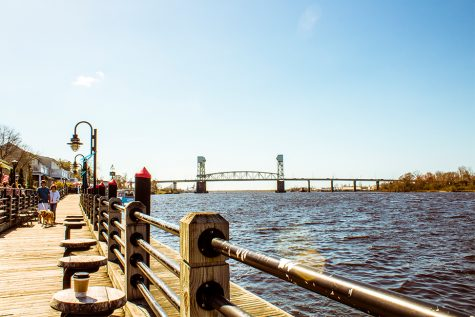 The riverwalk along the Cape Fear River in downtown Wilmington.