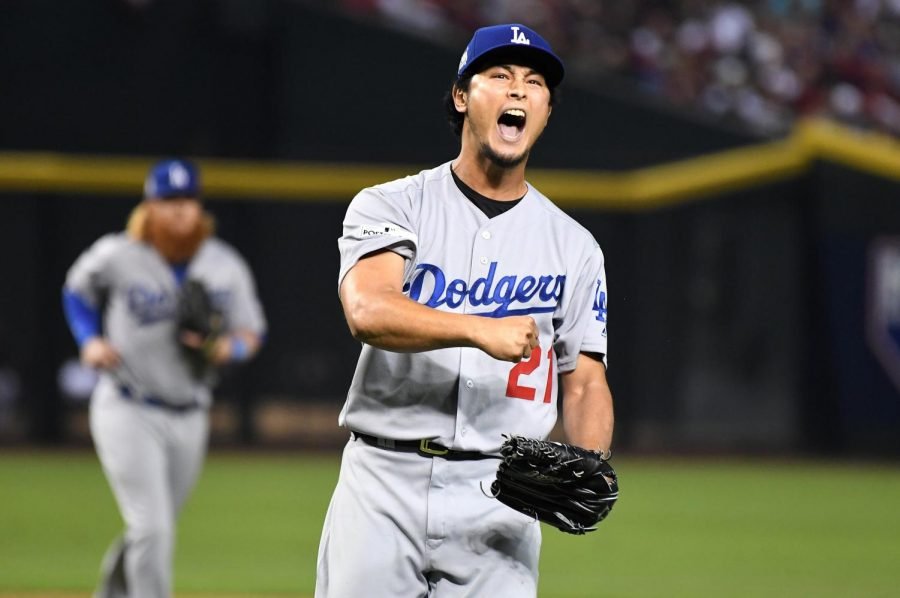 Dodgers pitcher Yu Darvish reacts after striking out Diamondbacks batter J.D. Martinez to end the fourth inning in Game 3 of the NLDS at Chase Field Monday, Oct. 9, 2017 in Phoenix, Ariz. The Dodgers won 3-1.