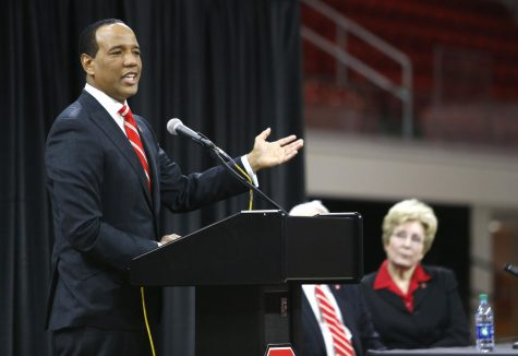 New N.C. State head men's basketball coach Kevin Keatts, left, talks to the crowd as athletic director Debbie Yow listens during an introductory press conference on Sunday, March 19, 2017 at Reynolds Coliseum in Raleigh, N.C.