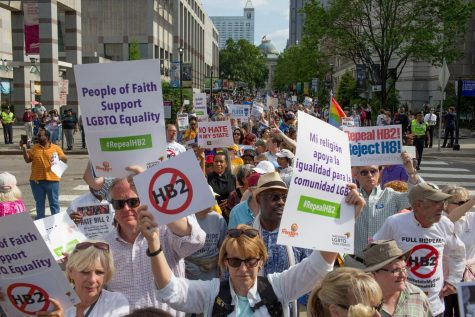 Demonstrators call for the repeal of HB2 in Raleigh, N.C., on April 25, 2016.  (Jill Knight/Raleigh News & Observer/TNS)
