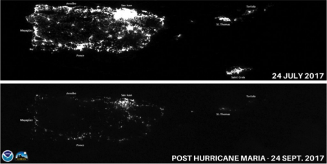 The view of Puerto Rico from space, before and after Hurricane Maria.
