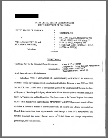 The first page of the indictment against Paul Manafort and Richard Gates, released by the Special Counsel's Office of the United States Department of Justice