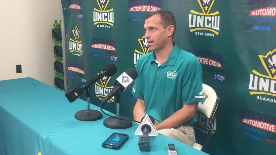 UNC+Wilmington+men%27s+basketball+coach+C.B.+McGrath+speaks+to+media+in+a+press+conference+on+Thursday%2C+Nov.+9.