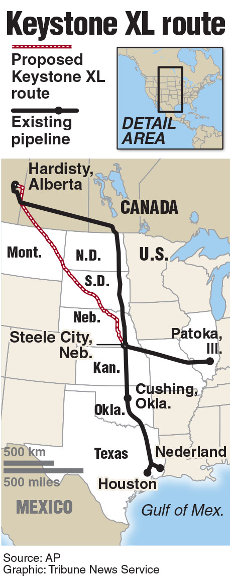 Map of the location of the proposed Keystone XL pipeline route.