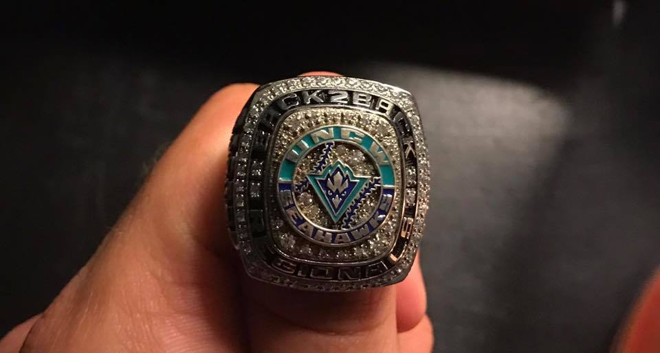 One of UNC Wilmington's  2016 NCAA Regional Championship rings. A ring similar to this one was stolen from former UNCW baseball player Alex Groff's home over the weekend.
