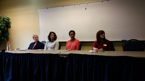 The #MeToo panel consisted of four female faculty/staff members (from left to right): Dr. Candice Bredbenner, Dr. Edelmira Segovia, Dr. Candace Thompson and Jenny Adler.
