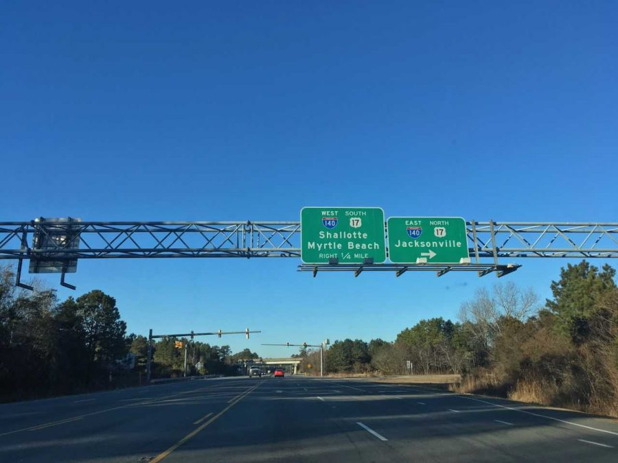 Signage approaching an interchange with the newly completed Interstate 140 in Wrightsboro.