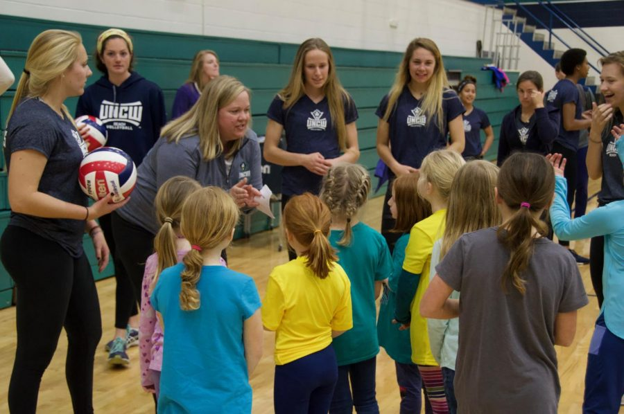 Volleyball coach Amy Bambenek during one of her volleyball camps