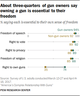 Graph depicting the views of gun owners and non-gun owners in regards to key aspects of freedom.